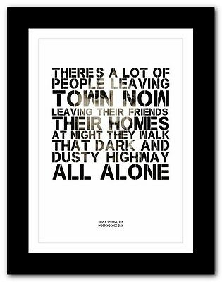 ❤ BRUCE SPRINGSTEEN - Independence Day ❤ song lyric poster typography art prints