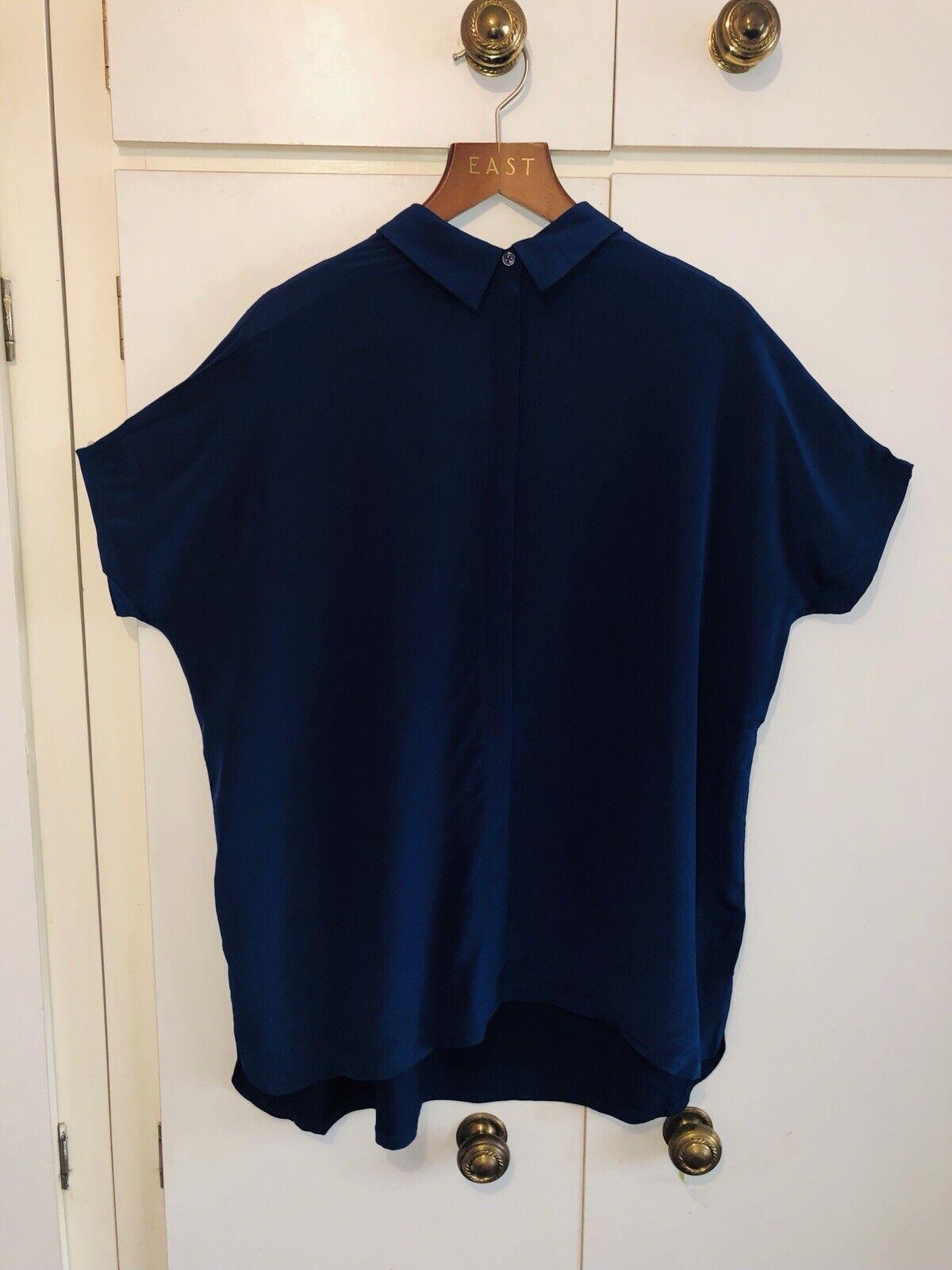 "East John Lewis ""Indigo"" Blau Silk Blend Button Up Top Blouse Größe Medium 16-18"