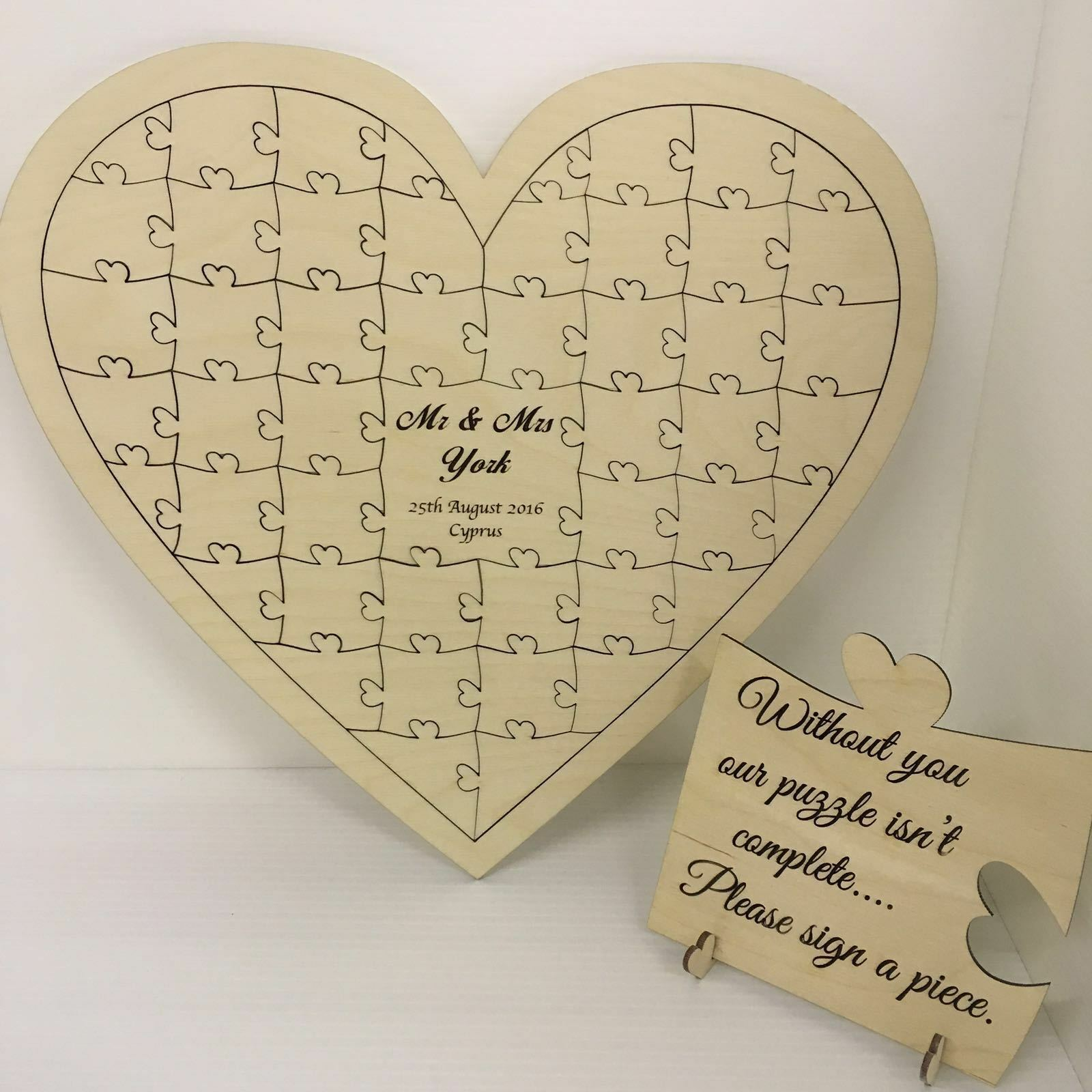 Personalised birch plywood 110 piece heart shaped wedding guest book jigsaw