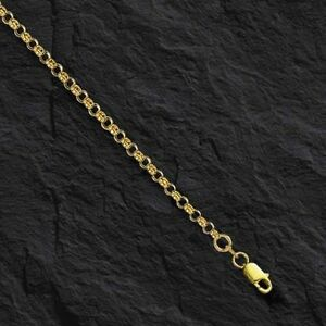 """10k Yellow Gold Round Rolo Link Necklace Pendant Chain 18/"""" 2.3mm"""