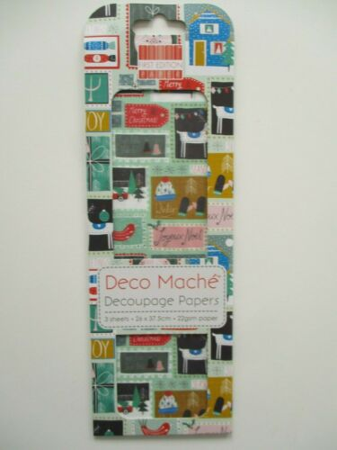 First Edition Deco Mache Decoupage Papers Words Christmas Decopatch