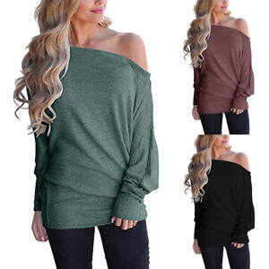 Women-Off-Shoulder-Loose-Pullover-Sweater-Batwing-Sleeve-Knit-Jumper-Top-Blouse