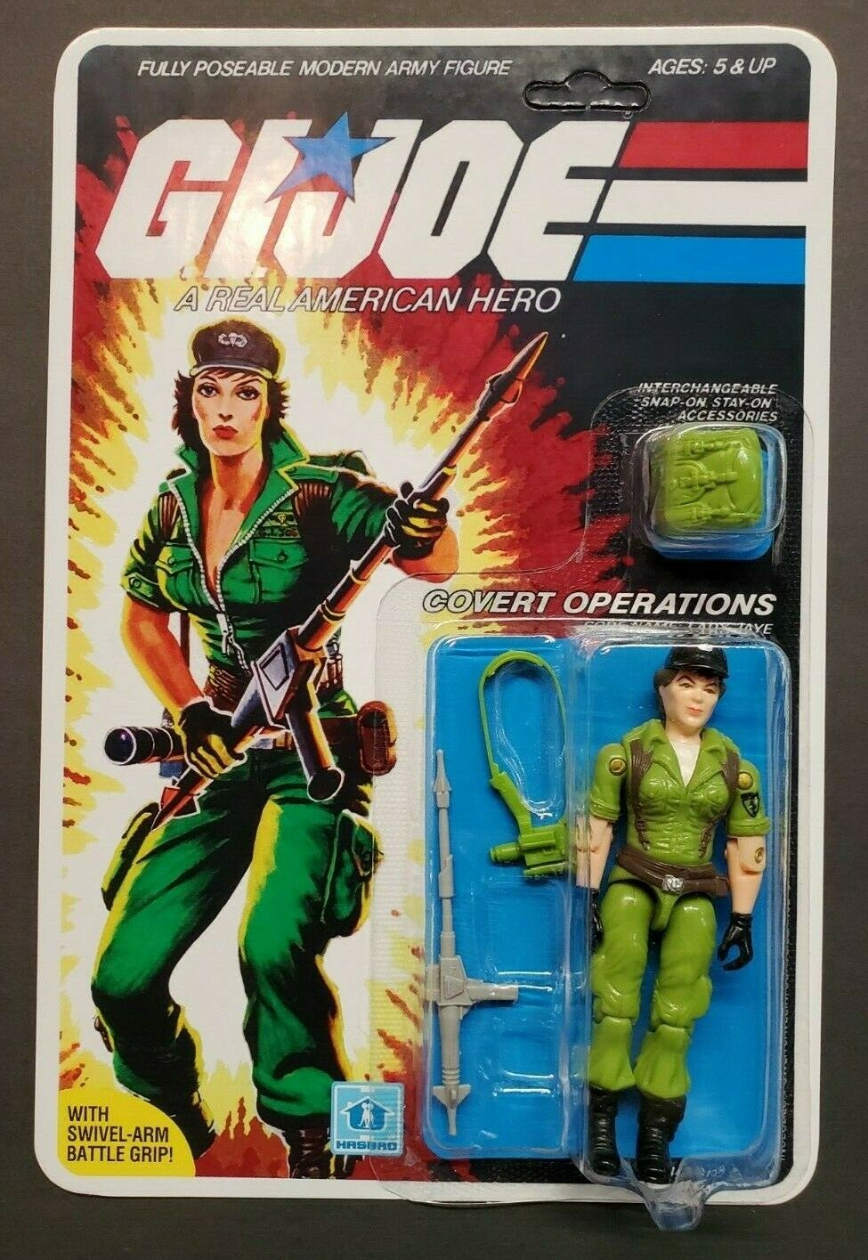 G.I. Joe 1985 Lady Jaye 100% Complete Carded un-punched