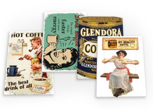 B Café Vintage 4 x Aimants de réfrigérateur