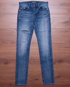 SAINT-LAURENT-PARIS-950-Low-Waisted-Embroidered-Skinny-Jeans-In-Medium-Blue