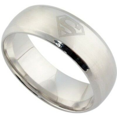 8mm Gold Black Silver 316L Stainless Steel Superman Superhero Band Ring