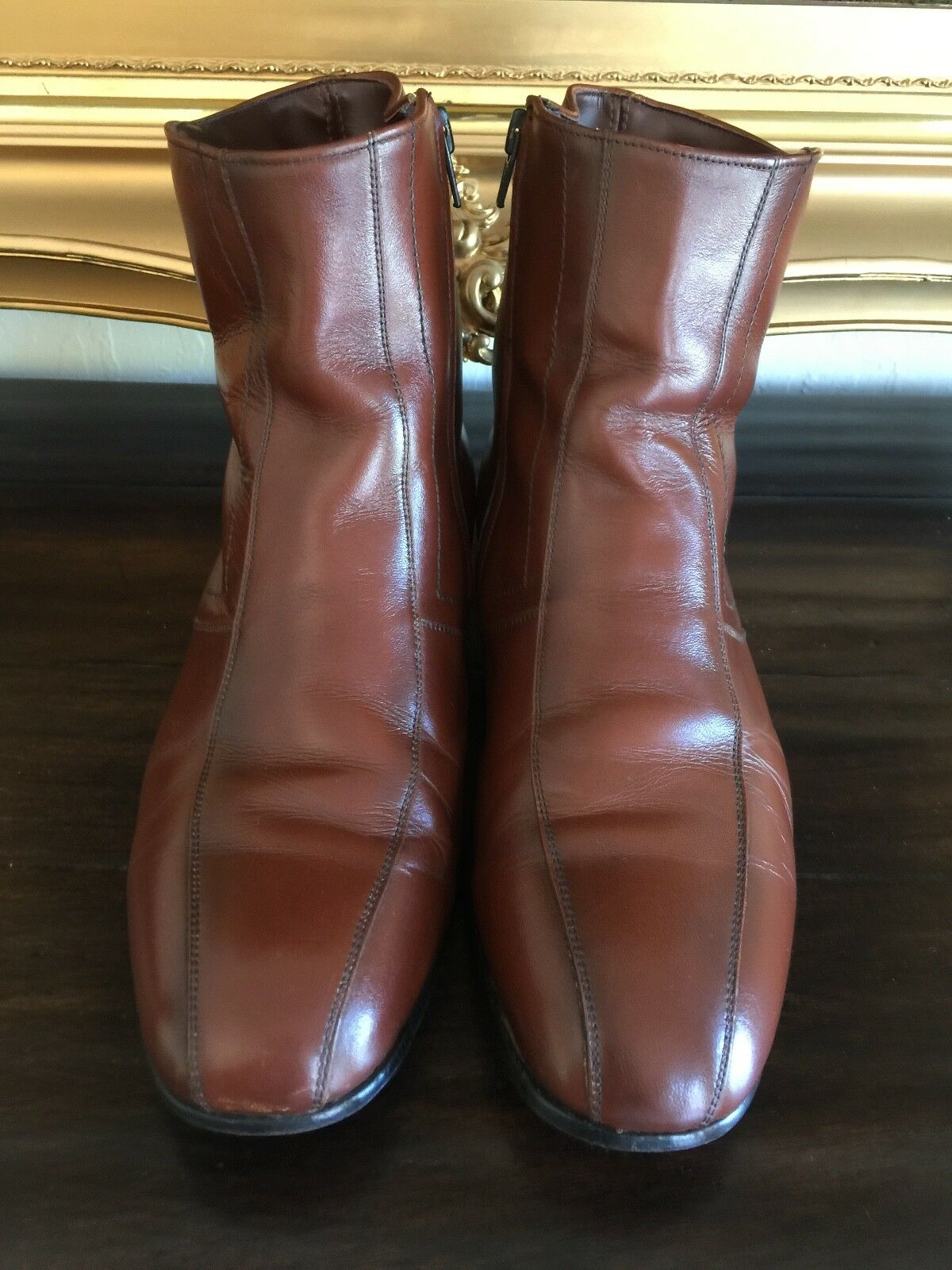 VINTAGE MEN'S 1970's STACY ADAMS BROWN LEATHER ANKLE BOOTS