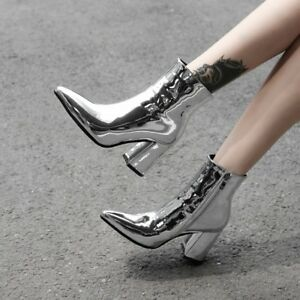 Womens-Punk-Ankle-Boots-Glitter-Pointed-Toe-Leather-Side-Zip-Booties-High-Heels