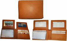 Lot of 3 New Man's Bi fold Leather Wallet 12 Credit Cards 2 IDs 2 Suede lined bn