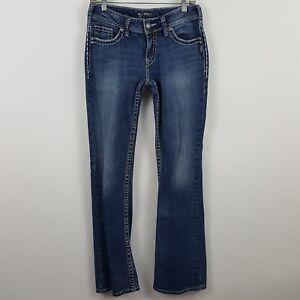 Silver-Suki-Boot-Cut-Women-039-s-Medium-Wash-Blue-Jeans-Size-28-x-34