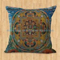 Us Seller- Cushion Cover Tibetan Buddhism Mandala Decorative Pillow Cover