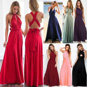 huge selection of 3ec73 805fb Details zu Damen Lang Maxikleid Abendkleid Kleid Hochzeitskleid Convertible  Wickelkleid
