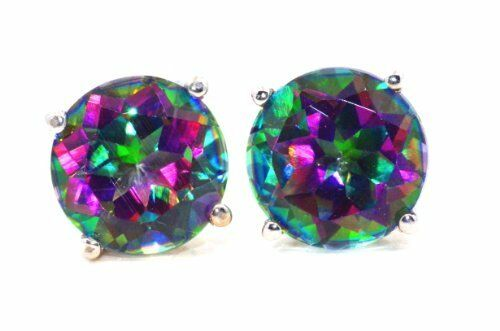 4 Ct Genuine Mystic Topaz 8mm Round Stud Earrings White Gold Silver