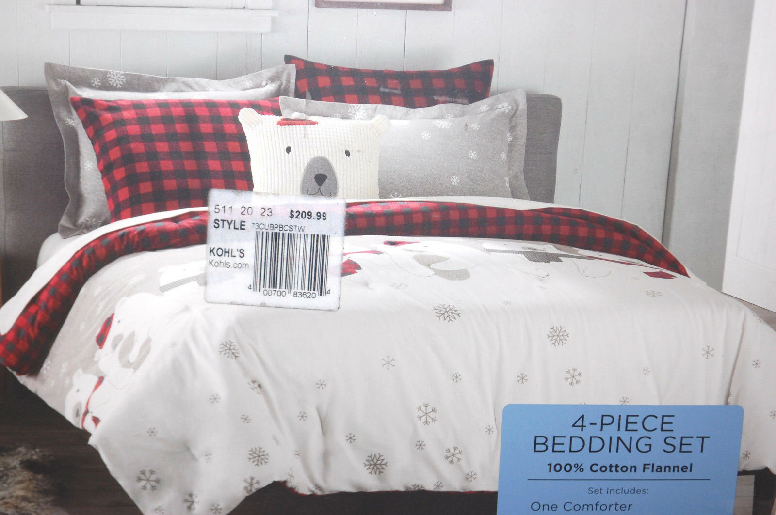 Cuddl Duds Twin Comforter 4 Pc Heavy Flannel Set Polar Bears NIP   M4527