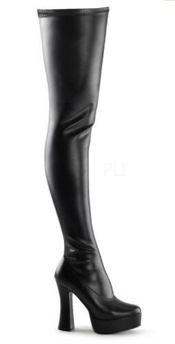 "5/"" Black Stretch Platform Fetish Latex Thigh High Boots Pleaser Electra-3000z"