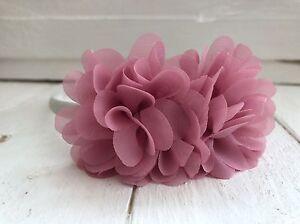 Ivory-Satin-Hairband-Headband-Dusky-Pink-Flowers-Bridesmaid-Flower-Girl
