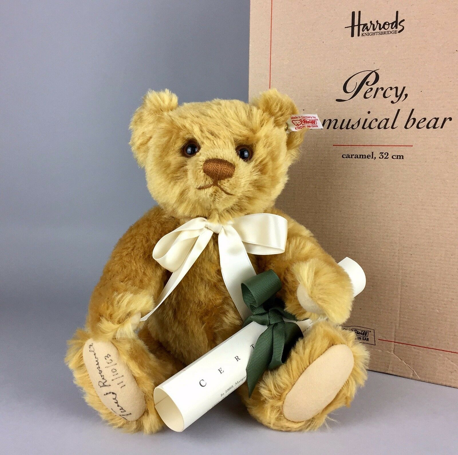 Tweed ROOSEVELT FIRMA STEIFF-PERCY-Ltd Ed 'Musicale Teddy Bear 661211-Boxed -