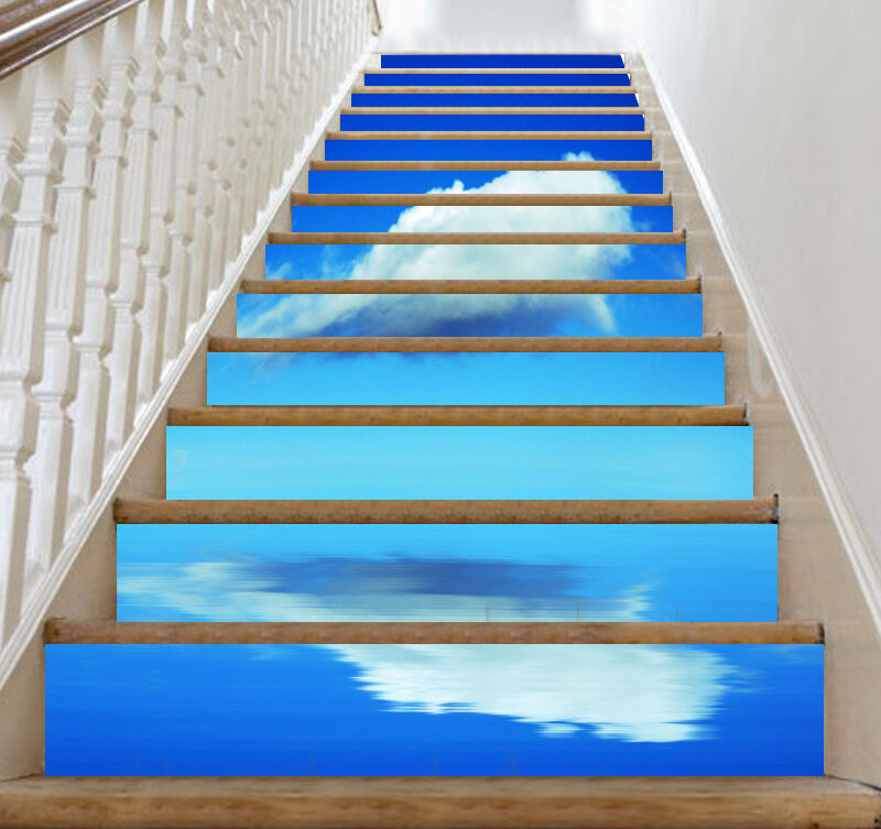 3D Clouds, sea 66 Stair Risers Decoration Photo Mural Vinyl Decal Wallpaper US