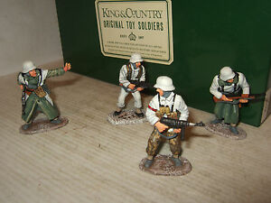 King & Country Ws012 Grenadiers Panzer Waffen Ss 4 pièces attaquant à l'échelle 1:30