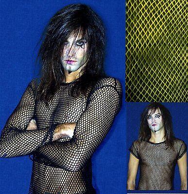 Mens Fishnet Mesh Top Shirt Dance Goth Punk Emo Long Short Sleeved Alternative Casual Button-down Shirts