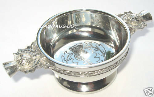 """QUAICH PEWTER SCOTTISH /""""HASTE YE BACK/"""" SOLID ENGRAVED WHISKY CUP MADE IN THE UK"""