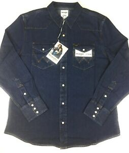 Wrangler-Jeanshemd-Jeans-Hemd-New-1-dunkel-blau-langarm-Groesse-von-L-bis-3XL