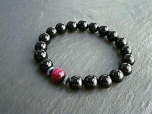 Natural-Gemstone-10mm-Black-Onyx-amp-Red-Tigers-Eyes-Bracelet-Energy-Stones-UK