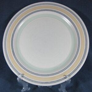 Pfaltzgraff-Key-Largo-Dinner-Plate-Stoneware-Yellow-Green-Bands-on-Cream-11-034