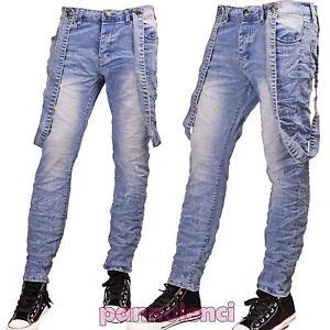 Jeans-uomo-bretelle-blu-chiaro-slim-fit-pantaloni-casual-denim-nuovo-M828236