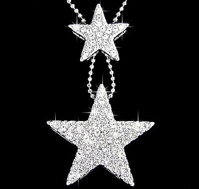 18K WHITE GOLD PLATED TWO STARS DIAMANTE PENDANT NECKLACE USE SWAROVSKI CRYSTALS