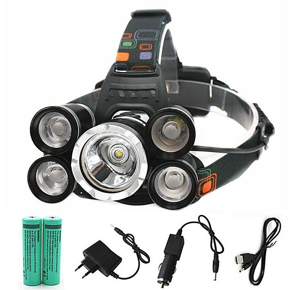 Led Head Flashlight Headlamp, Rechargeable 16000lm 5 led Zoomable +18650 battery