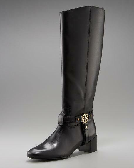 Tory Burch Leather Bristol Donovan Black Gold Medallion Leather Burch Riding Boots Tall Sz 7 2bb4df