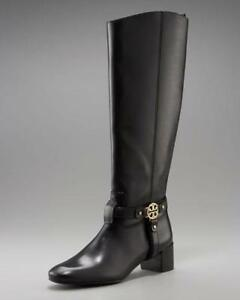 a294310c830 Details about Tory Burch Bristol Donovan Black Gold Medallion Leather  Riding Boots Tall Sz 7