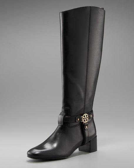 06c3db3c93d3 Tory Burch Bristol Donovan Black Gold Medallion Leather Riding BOOTS Tall  Sz 7 for sale online | eBay