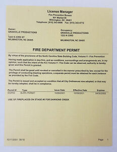 DAWSON-039-S-CREEK-set-used-paperwork-2001-FIRE-DEPARTMENT-PERMIT