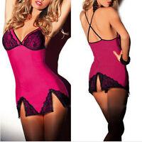 Woman Sexy Babydoll Lingerie Lace Sling slits Dress Underwear Sleepwear G-string