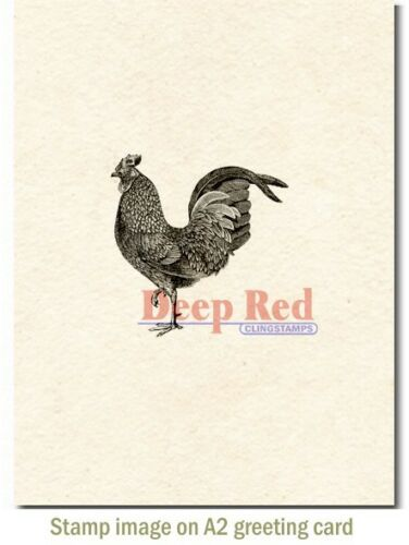 Deep Red Stamps Rooster Rubber Cling Stamp