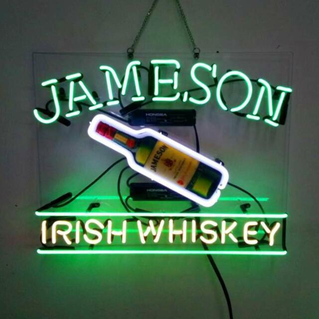 "Jameson Irish Whiskey Bottle Acrylic 20\""x16\"" Neon Sign"