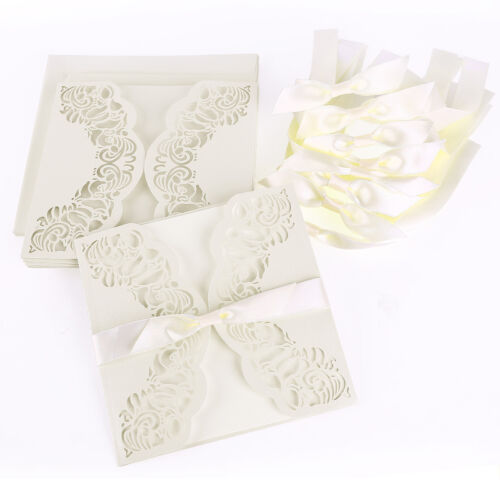 "Invitation 6/"" X 6/"" Laser Cut Basket Heart White Lace Doily Paper Envelopes"