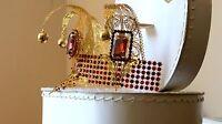 Golden Laser Cut Venetian Carnival Mask With Swarowski Ruby Crystals