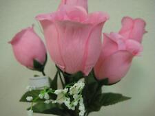 """3 Bushes LITE PINK Rose Buds Artificial Silk Flowers 13"""" Bouquet 6-599LPK"""