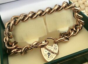 Stunning-Ladies-Rare-Antique-Victorian-9ct-Rose-Gold-Chunky-Padlock-Bracelet-Wow