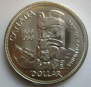 CANADA-1958-TOTEM-SILVER-BRILLIANT-UNCIRCULATED-DOLLAR-COIN-A
