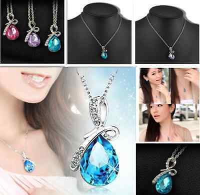 Womens Jewelry Silver Chain Crystal Rhinestone Pendant Necklace Fashion Gift