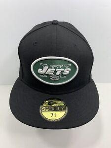 New-Era-59FIFTY-Black-New-York-Jets-7-5-8-Fitted-Flat-Bill-Cap-NEW