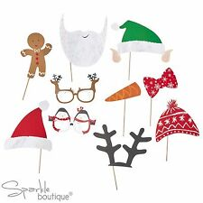 SANTA & FRIENDS XMAS PHOTO BOOTH SET - Props inc Father Christmas, Elf & Glasses