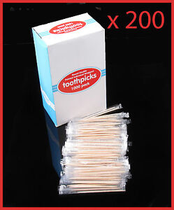 200-Individually-Wrapped-Wooden-Toothpicks-65mm-Home-Party-Hotel-from-Sydney