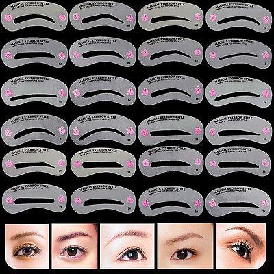 24 Styles Eyebrow Shaping Stencils Grooming Kit Makeup Shaper Template DIY Tool