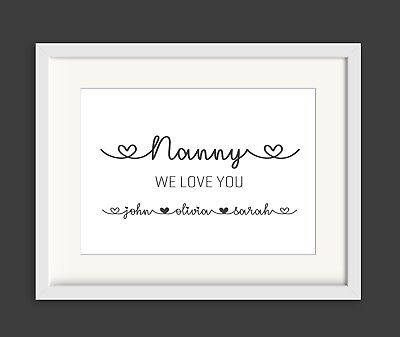 Definition of a Mother Personalised Gift for Mum Mummy Nan Grandma Personalised Print Framed Print A5
