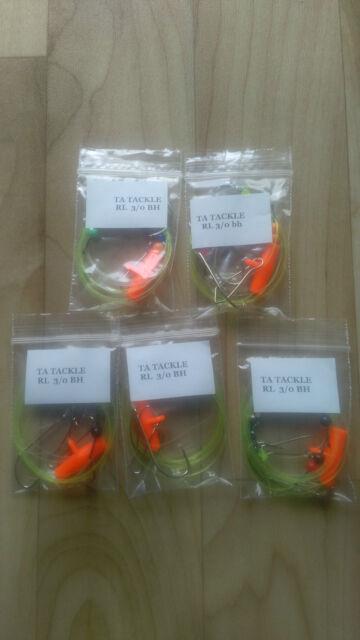 10x Running ledger sea fishing pennel rigs 3//0 baitholder good for cod bass etc